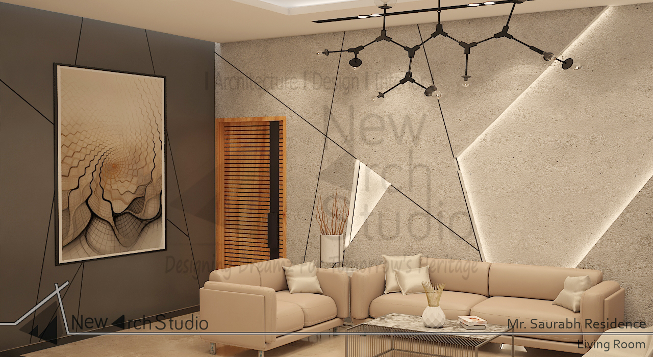 living area wall design for residence done by new arch studio