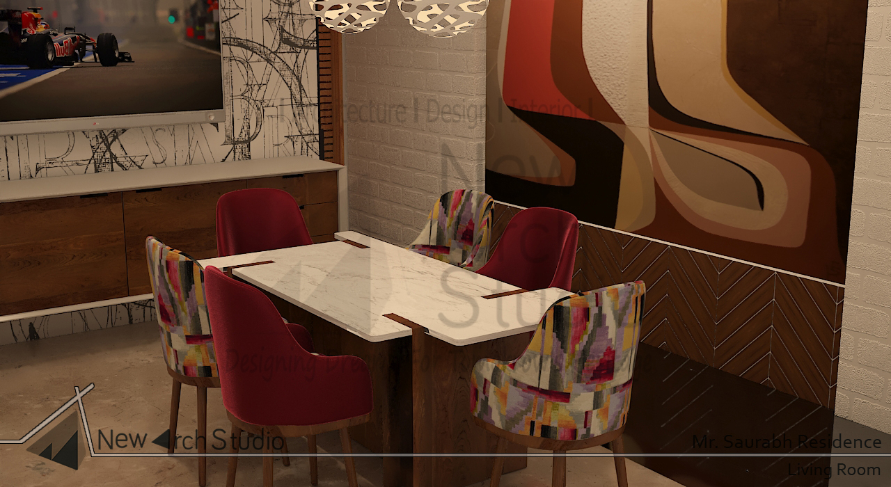 dining area interior design for residence done by new arch studio