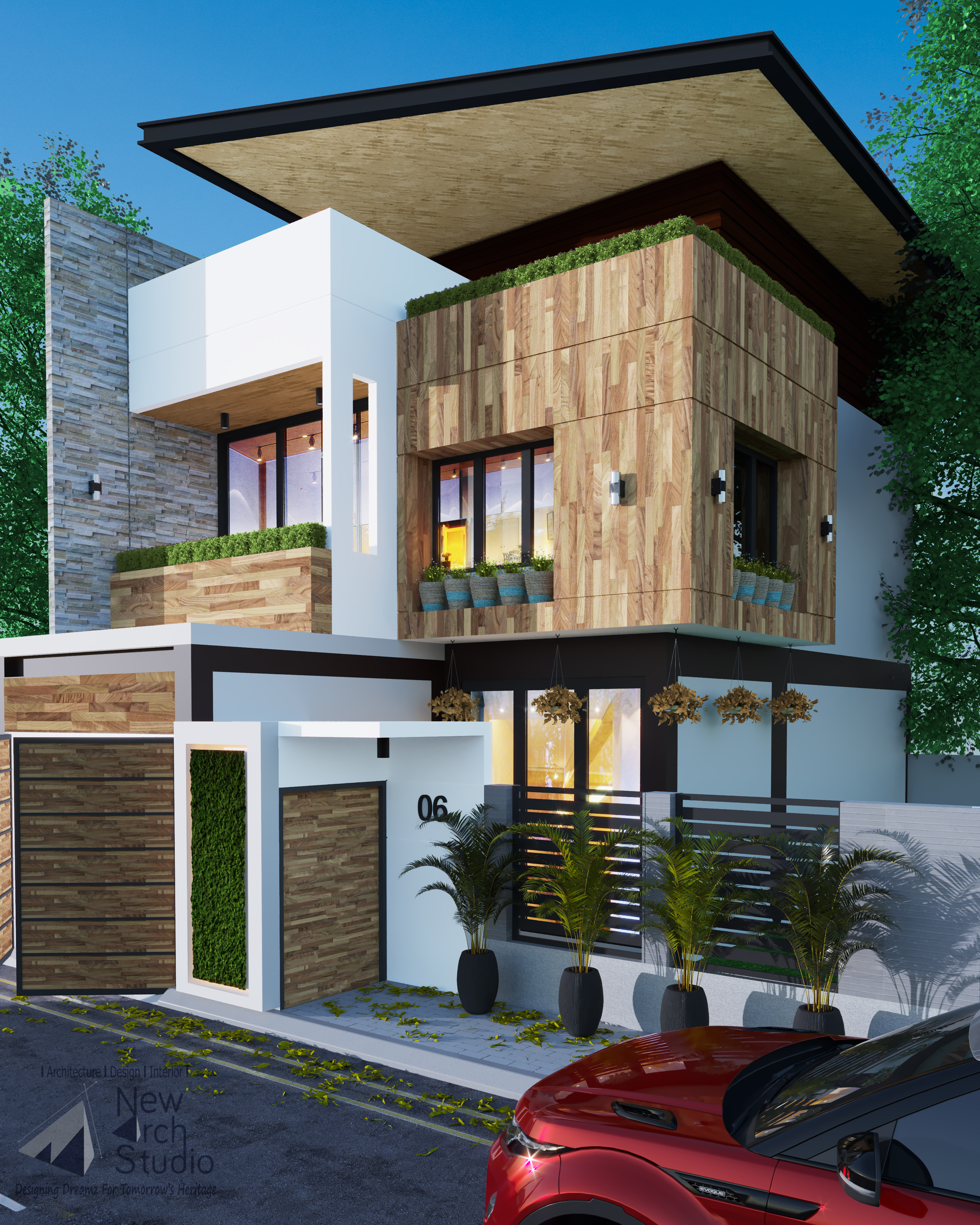 Mr. Gaurav, 250 Yard Villa Exterior Design Done By New Arch Studio