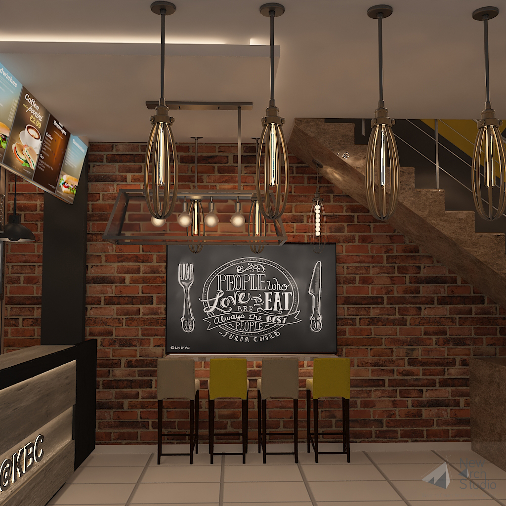 KBC Cafeteria Interior Design Commercial Project Done By New Arch Studio