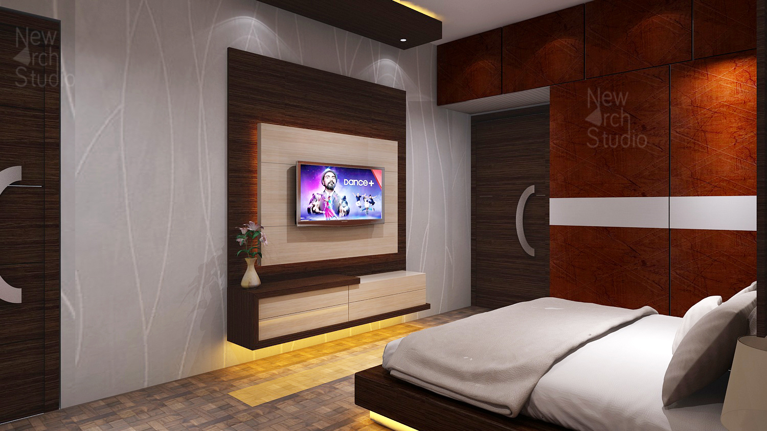 master bedroom tv wall design for residence done by new arch studio