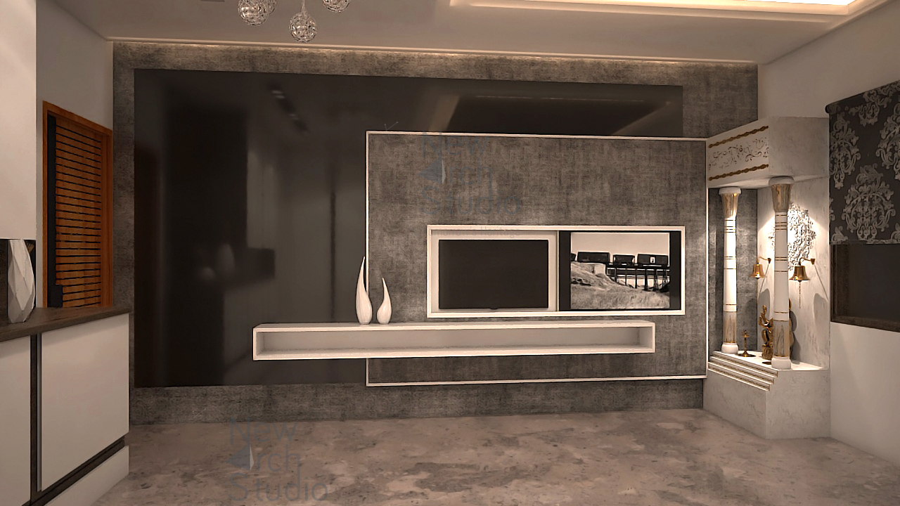 master bedroom tv unit wall design for residence done by new arch studio