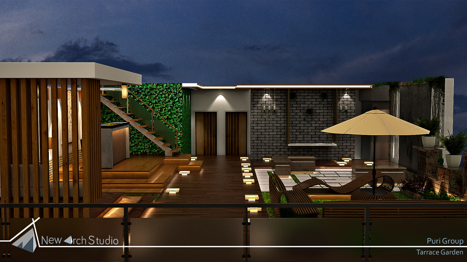 Mr. Puri Group Terrace garden Interior Design Done By New Arch Studio