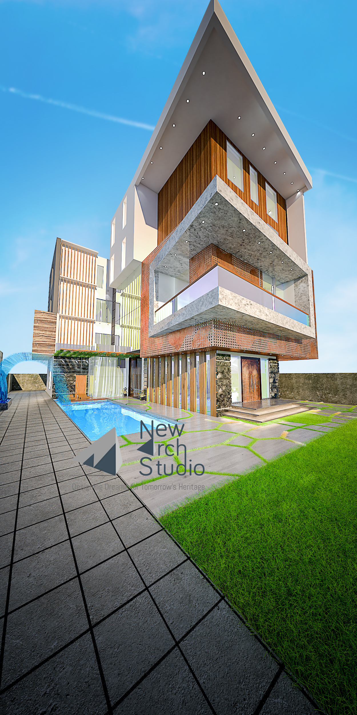 Palam Vihar, Gurugram Residential Exterior Design Done By New Arch Studio